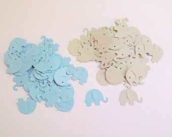120 Baby Blue & Light Gray Elephants Die Cut Cutout Punch Embellishment Scrapbook Confetti