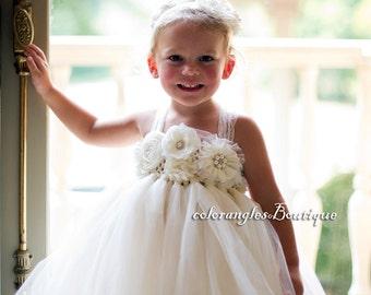 Flower girl dress chiffton flowers tutu dress baby dress toddler birthday dress wedding dress 1t-8t