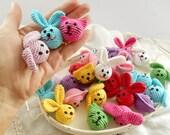 Crocheted animal heads Wood Crochet dog cat bunny heads beads Assorted crochet animal beads Craft supplies