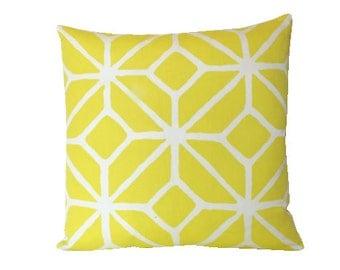 Trina Turk Trellis Print Pillow Cover in Yellow Outdoor Schumacher Fabric