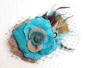 Turquoise Tan Bridal Hair Clip Accessory Romantic wedding Rose Fascinator feathers Antique Button original unique hair clip
