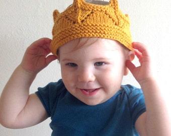 Gold crown - knit crown headband - newborn baby toddler child tiara - kids' birthday waldorf accessory