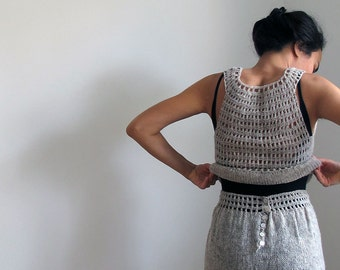 Knitted top with crochet details in organic wool, knit top, organic wool top.