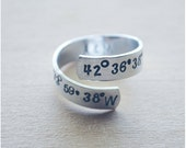 Coordinate Ring - Adjustable Ring - Longitude Latitude Ring - Hand Stamped Personalized Ring - Best Friend Long Distance - Best Friend Rings