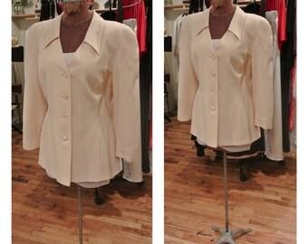 1980s Cream Escada Jacket Pale Yellow Midi Blazer Silk Escada Dress Jacket Wool Blazer Vintage Escada