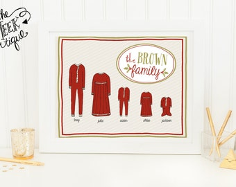 Personalized Christmas Printable, Pajama Family, No. 238