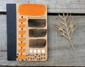 Hand painted Notebooks, orange & black sketchbook, small blank art journal, gift for friends