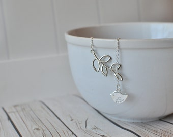 Bird Lariat Necklace - Bird Branch Necklace - Silver Bird Necklace - Lariat Necklace