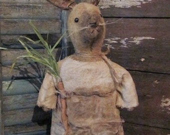 2015 E-PATTERN Primitive Folk Art Early Style Bunny Rabbit Doll with Vintage Reproduction Label