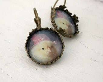 Chicken Earrings Chick in A Miniature Pink Fascinator Leverback Earrings Chicks in Hats Baby Animals