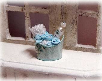 Toilet bowl bath, dollhouse miniature scale 1/12