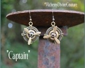 Steampunk Earrings, Propellers, Compass, Bronze Filigree, Airline Capitan, Airplane   By Alchemy Divine Couture