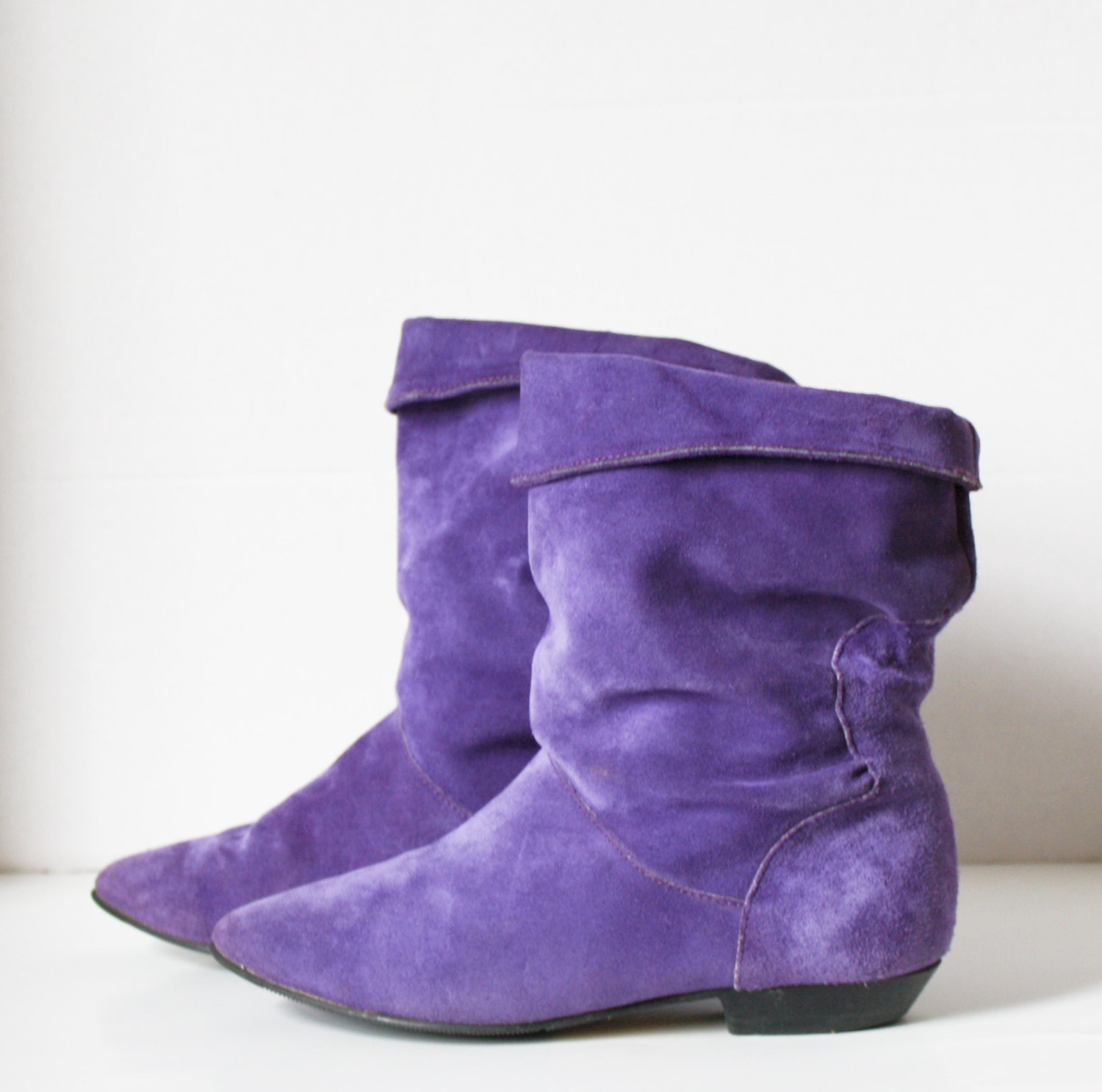vintage 1980s purple suede boots flats slouch editions