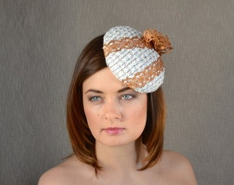 SALE - Cream Pillbox Hat with Copper Lace trimming - Cream, Pink and Blue Cocktail Hat - Christening Hat - Mother of The Groom Hat