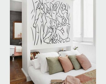 """Wall Art inspired by Picasso's """"The Young Ladies of Avignon"""" vinyl wall decal - removable wall sticker minimalistic decor (ID: 111052)"""