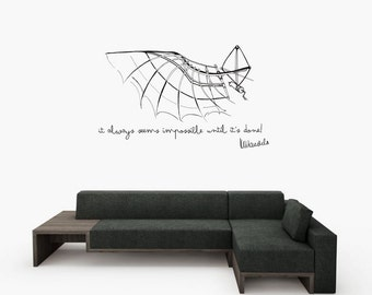Nelson Mandela inspiration quote and Da Vinci flying machine drawing design large wall decal for your interrior decor (ID: 131052)