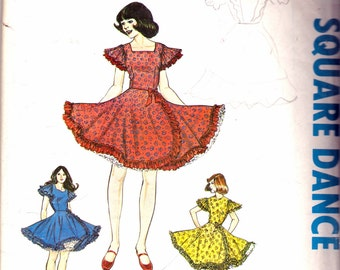 "Vintage 1977 Authentic Patterns Inc 280 Square Dance Dress Three Neckline Versions Sewing Pattern Size 6-8-10 Bust 30 1/2"", 31 1/2"", 32 1/2'"