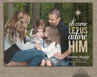 Christian Christmas Card - Full Photo - Oh Come Let Us Adore Him - O come let us - Gold Glitter Shimmer - Modern Religious Christmas Cards