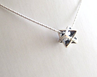 kabbalah small merkava silver pendant necklace  merkaba symbol silver chariot  silver necklace