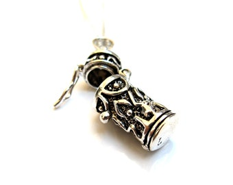 925 Sterling silver mezuzah style locket pendant necklace handmade artisan jewelry