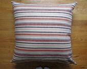 Farmhouse Pillow Cover, Rustic Striped Floor Pillow Cover, Orange Linen Pillow Cover, 24x24 Large Decorative Pillow, Boho Chic Floor Pillow