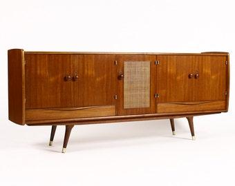 Danish Modern / Mid Century Teak Large Credenza / Sideboard — Cane front detail — Sven Andersen Mobelfabrikk