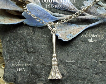 Sterling Silver Witch's Broom Charm, .925  Broom Necklace, Wiccan Wedding Besom Charm - Traditional Wedding Gift Token - SE-1800