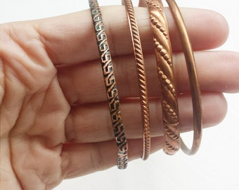 Handcrafted Copper Patina Bangle Set