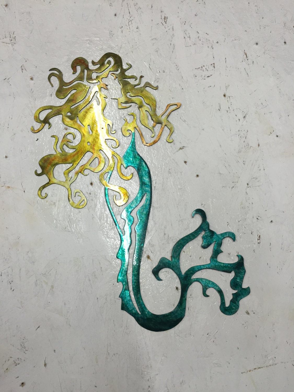 mermaid nautical marine metal wall art ocean by schrockmetalfx