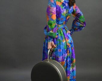 60s Handmade floral dress- Size 4/6