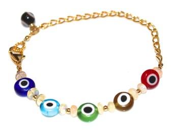 Evil Eye Bracelet Opal Bracelet Bright Jewelry Evil Eye Jewelry Opal Jewelry Fun Bracelet Multicolor Bracelet Charm Bracelet Trending Jewel
