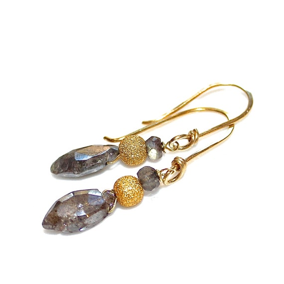Labradorite Earrings Gold Earrings Labradorite Jewelry Marquise Gemstone Earrings Delicate Earrings Gift For Women Handcrafted Earrings
