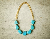 Statement Turquoise Nugget Necklace - Chunky Boho Natural Gemstone Necklace