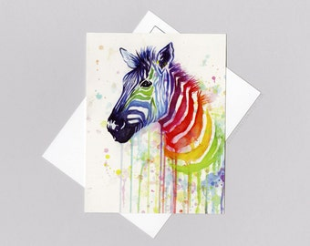 Rainbow Zebra Card, Colorful Watercolor Painting, Rainbow Zebra Unique Postcard, Animal Art