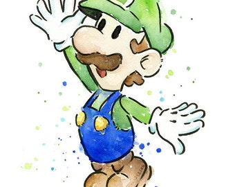 Luigi Portrait Watercolor Art Print, Geek Videogame Nintendo Supermario Decor