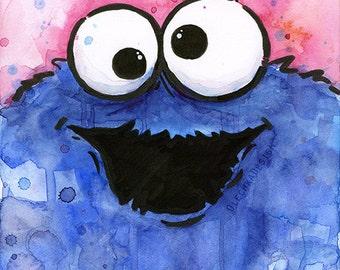 Cookie Monster Portrait Watercolor, Art Print, Giclee, Sesame Street Fan Art, Kids Decor