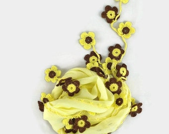 Light Yellow  Scarf , Cotton cowl with crochet  purple oya flowers ,  Womens foulard ,Yellow scarflette, Cotton neck scarf, gift  her