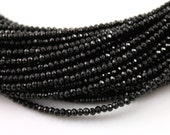 Natural ''No Treatment'' Black Spinel Micro Faceted Rondelle Beads, Jet Black AAA Quality Gemstones Appx. 1mm, 1 Strand, (BSPN/1mm/MICRO)