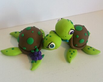 Sea Turtle Wedding Cake Topper, Custom Clay Wedding Keepsake, Handmade Polymer Clay Cake Topper, Turtle Wedding Gift, Sea Turtle Keepsake
