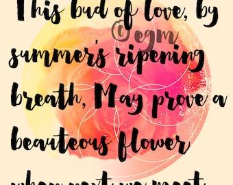 Romantic Literary Quote Print Romeo and Juliet Wedding Wall Art Engagement Art Love Wall Decor