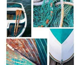 Nautical Wall Art, Boat Photo Set, Four 4 Photographs, Coastal Decor, Rowboat Artwork Boat Oars Rope Fishing Nets Teal Aqua Rust Beige White