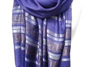 Iris Scarf. Blue Purple Shawl. Blue Scarf. Shimmering Scarf. Wedding Scarf. Meander Design. Greek Line Scarf. 20x70in (50x180cm) Ready2Ship