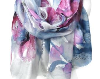Tulips Hand Painted Silk Scarf. Birthday Gift. Blue Pink Floral Woman Shawl. Echarpe Foulard Soie. Wedding Bridal Gift. 18x71in MADEtoOrder
