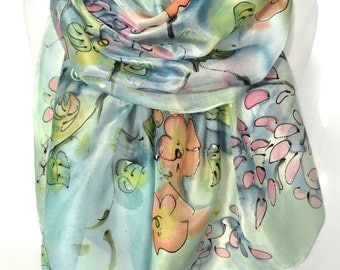 Hand Painted Silk Scarf. Floral Romantic Scarf. Woman Silk Shawl. Rainbow Anniversary Gift. Genuine Silk Art. 18x71in MADE to ORDER