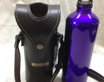 leather water bottle holder with shoulder strap