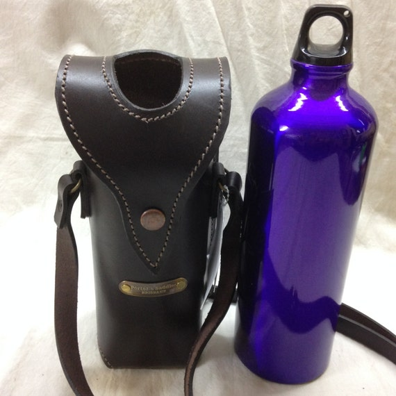 Water Bottle With Strap: Leather Water Bottle Holder With Shoulder Strap