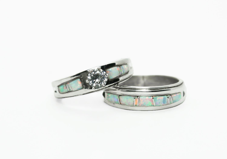 Opal Bridal Ring Set by swijewelry on Etsy