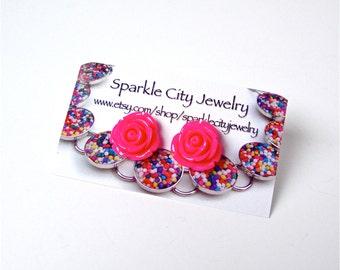 Hot pink rose earrings - large rose stud earrings - fuchsia rose earrings - romantic jewelry - cute, kawaii