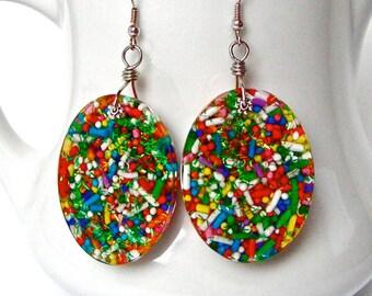 Sprinkles earrings, candy resin earrings, colorful oval earrings, kawaii jewelry, funky earrings, large earrings, cupcake sprinkles jewelry
