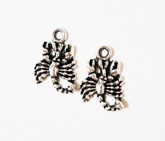 Silver Scorpion Charms 16x10mm Antique Silver Metal Southwestern Desert Animal Charm Scorpion Pendant Jewelry Making Craft Supplies 10pcs